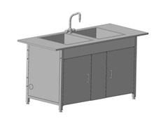 Стол-мойка двойная 1200х600х850 DURCON с двумя раковинами и одним смесителем tof