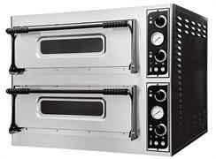 Печь для пиццы GEMLUX GEP 44 электрическая, 2 модуля с керамическим подом, подсветкой и термометром, камера 660х660х140 мм, дверцы со смотровым окнами, раб.температура 50-500оС, независимое управление верхними и нижними ТЭНами