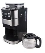 Кофеварочная машина GEMLUX GL-CM-77 капельная, электронное управление с ЖК-дисплеем, емкость 1,5 л (12 чашек), встроенная кофемолка с бункером на 200 г, регулируемая крепость кофе, подогрев готового напитка, задержка старта, нерж.сталь