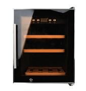 Холодильный шкаф для вина GEMLUX GL-WC-12C компрессорный, +5...+20оС, 50 л, 1 стеклянная дверца, подсветка, сенсорное управление с ЖК-дисплеем, 3 деревянные полки, вместимость 12 бутылок 0,75 л, цвет черный