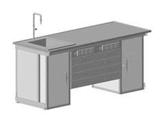 Стол демонстрационный с двумя напольными тумбами, двумя подвесными тумбами, с электрикой, с подводом воды 2000х750х900 КЕ