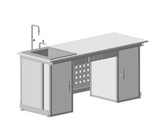 Стол демонстрационный с двумя напольными тумбами, с электрикой, с подводом воды 2000х750х900 КЕ