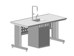 Стол ученический с сервисной стойкой, с электрикой, с подводом воды 1515х750х760
