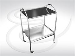 Стол инструментальный (2 полки нержавеющая сталь и стекло) СИ 2-01 (НС)