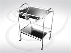 Стол инструментальный (2 полки нержавеющая сталь с ящиком) СИ 2-01 (2Н-1)
