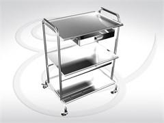 Стол инструментальный (3 полки из нержавеющей стали и 1 ящик) СИя 3-01 (3-1)