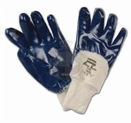 Перчатки с нитриловым покрытием Блюсейф (Bluesafe) с трикотажной манжетой с 3/4 нитрильным покрытием