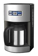 Кофеварочная машина GEMLUX GL-DCM-1S капельная, электронное управление с ЖК-дисплеем, емкость 1,2 л, многоразовый фильтр, подогрев готового напитка, задержка старта до 24 ч, чайник из нерж.стали, материал корпуса - нерж.сталь/пластмасса