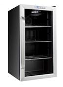 Холодильный шкаф витринного типа GEMLUX GL-BC88WD электронный термостат, +1…+6оС, 88 л, 1 распашная перенавешиваемая стеклянная дверца с рамой из нерж.стали, подсветка, 3 полки-решетки, материал корпуса - окраш.сталь, цвет черный
