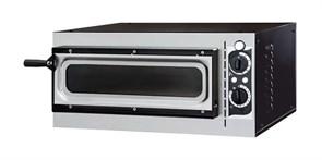 Печь для пиццы GEMLUX GEP 1/40 VETRO электрическая, 1 модуль с керамическим подом, дверца со смотровым окном, рабочая температура 50-320оС, таймер 0-15 мин, размеры камеры 410х360х90 мм