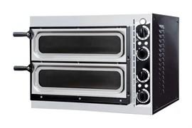 Печь для пиццы GEMLUX GEP 2/40 VETRO электрическая, 2 модуля с керамическим подом, дверцы со смотровыми окнами, рабочая температура 50-320оС, таймер 0-15 мин, размеры камеры 410х360х90 мм