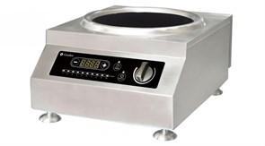 Плита GEMLUX GL-IC5100WPRO электрическая, настольная, индукционная, 1 зона нагрева (вок), сенсорное и механическое управление с ЖК-дисплеем, 10 уровней мощности, электронный таймер 0-24 ч, нерж.сталь